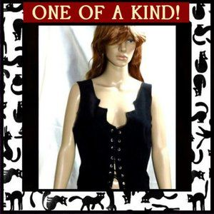 Tops - Black Lace-Up Pixie or Fairy Vest Top